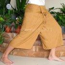 Thai PLUS SIZE Fisherman Pants Capri SHORT Casual Yoga Trousers LIGHT BROWN Rayon XXL 2XL
