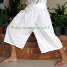 Thai PLUS SIZE Fisherman Capri SHORT Pants Yoga Trousers WHITE Rayon XXL 2XL