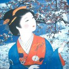 Japanese WINTER SNOW GEISHA Cap Sleeve Art Print T-shirt Misses XL