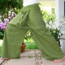 Thai XXXL Plus Size Cotton Fisherman Yoga Pants SOLID OLIVE Green Beach Dance Asian Trousers