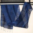 Thai Handmade Pure Silk Fabric Scarf Shawl Dark NAVY BLUE from Thailand