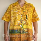 TREE OF LIFE Gustav Klimt Fine Art Print Casual Hawaiian Cut Cotton Dress Shirt L Large