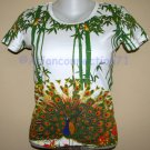 PEACOCK in Bamboo Asian Art Print T Shirt Misses L Large Short Sleeve