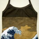 GIANT WAVE Japan Hokusai Ukiyoe Art Print Shirt Singlet TANK TOP Misses S Small