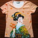 AUTUMN GEISHA Hand Print Japan Cap Sleeve Art T Shirt Misses XL