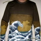 GIANT WAVE Hokusai UKIYOE Japan Art Print LONG SLEEVE Shirt Men's Size M Medium
