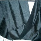 Thai ELEGANT BLACK Handwoven Silk Fabric Scarf Shawl Direct from Thailand