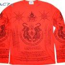 Thai SUA Tigers LONG SLEEVE Magic Sak Yant Tattoo T Shirt XL Black on Red