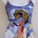 Monet WOMAN with PARASOL Fine Art Print Shirt Singlet TANK TOP Misses L Large