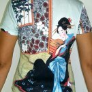 MERRY GEISHA Japanese Ukiyoe Japan Art Print T Shirt Miss L LARGE Short Sleeve