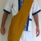 Thai Hippy Trippy Cotton BUDDHA BAG Purse Messenger Sling SAFFRON GOLD