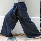 Plus Size Thai XXXL Cotton Fisherman Yoga Pants Dark Blue Stripe