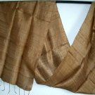 Thai GOLDEN BROWN Hand Craft New Pure Silk Fabric Scarf