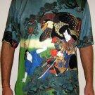 HAYABUSA SAMURAI Hand Printed Japan Art T-Shirt Mens L