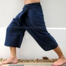 Thai Cotton Fisherman Capri SHORTS Yoga Pants FREESIZE Dark Navy Blue