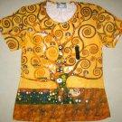 TREE of LIFE Gustav Klimt Cap Sleeve Art Print T Shirt Misses L Large