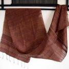 Thai DEEP BROWN New Handwoven 100% Silk Fabric Scarf