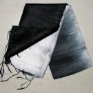 Thai Silk Fabric Scarf Shawl BLACK and CREAM WHITE Siam Textile Art