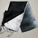Thai Silk Fabric Scarf Shawl BLACK and CREAM WHITE Siam Textile Art