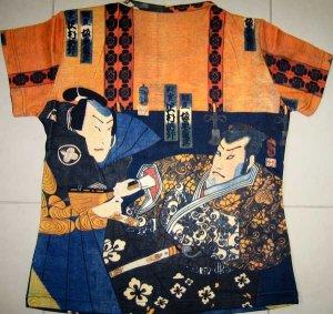 Sharaku Ukiyoe Japan Samurai Cap Sleeve Art T Shirt Misses XL Extra Large