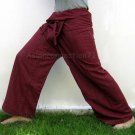 Thai Cotton Drill FREESIZE Fisherman Yoga Pants BURGUNDY Stripe