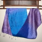 Thai Silk Fabric Scarf New Hand Craft PURPLES and BLUES Direct from Thailand 0310
