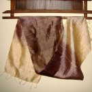Thai Silk Fabric Scarf New Hand Crafted BROWN and CREAM