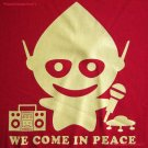 WE COME IN PEACE New Alien DJ CISSE Disco Party T-Shirt Slim Fit Asian M Red BNWT