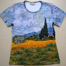 Van Gogh WHEAT FIELD with CYPRESSES Fine Art Print T Shirt Misses M