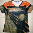 THE SCREAM Edvard Munch Cap Sleeve Fine Art Print T Shirt Misses XL