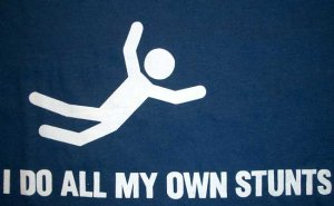 I DO ALL MY OWN STUNTS Fun New T-Shirt XXL Dark Blue