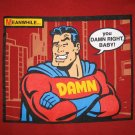 SUPER DAMN Funny Brand New Cotton MAN T-shirt L RED