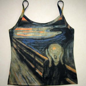 THE SCREAM Edvard Munch Hand Print Fine Art Shirt Singlet TANK TOP Misses L Large