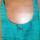 Thai Raw Silk Messenger Sling BUDDHA BAG Purse Turquoise Aqua Blue Green