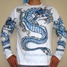 BLUE DRAGON Long Sleeve Irezumi Biker Tattoo T-Shirt L Large