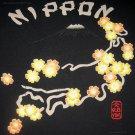 NIPPON Fuji and Flowers RONIN Japan Tokyo Yakuza T-Shirt L Large Black