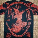 Thai RAMASOON THUNDER GOD Magic Tattoo Short Sleeve Biker T-Shirt L Large Red on Black