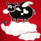 SURREAL FLYING COW CISSE Disco Party Rave T-Shirt Slim Fit Asian M Red BNWT