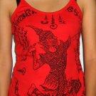 RAMASOON Thunder God Magic Sak Yant Tattoo Shirt Singlet TANK TOP Misses M Medium Red