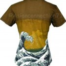 GIANT WAVE Hokusai Japanese UKIYOE Cap Sleeve Japan Art T Shirt Misses XL Extra Large