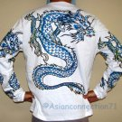 BLUE DRAGON Long Sleeve Irezumi Biker Tattoo T-Shirt XL