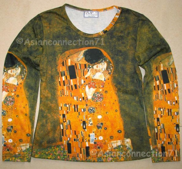 THE KISS Gustav Klimt Long Sleeve Fine Art Print T Shirt Misses S Small