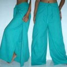 Thai Wrap Yoga Pants TURQUOISE AQUA BLUE Cotton FREESIZE New!