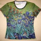 IRISES Van Gogh New Cap Sleeve Hand Print Art T Shirt Misses Size M Medium