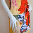 RED KIMONO Under SAKURA Japanese Art Print Dress L Large 12-14