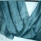 Thai Hand Craft Silk Fabric Scarf Dark Silver MERCURY GRAY Shawl