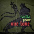 RASTA PEACE ONE LOVE New Reggae Lion T-Shirt M Dk Green