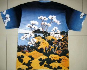 Hokusai FUGAKU SANJUROKEI Japan Ukiyoe Art T-Shirt Mens L Large