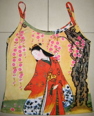 Red Kimono Under Sakura Japan Art Print Shirt Singlet TANK TOP Misses XL Extra Large