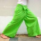 Thai XXXL Plus Size Cotton Fisherman Yoga Pants Solid LIME GREEN